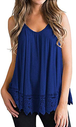 PRIMODA Womens Casual Sleeveless Tank Tops Lace Off Shoulder Halter T Shirts Loose Fit Blouse (XL, Blue2)