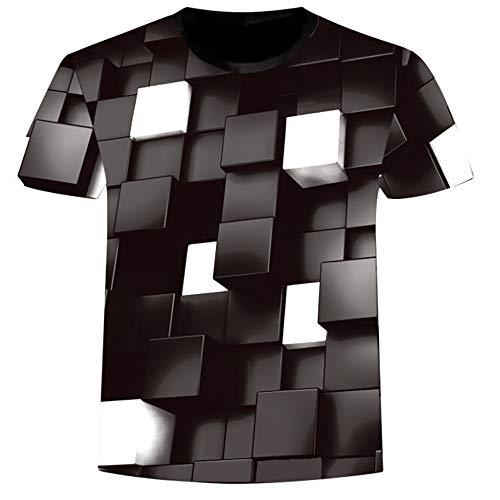 Willow S ☪✯ღ☪Mens Models 3D Graffiti Digital Formula Three-Dimension Print Casual Slim Short-Sleeved Shirt Top Blouse Black]()