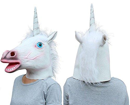 SANOQ Fantastic Latex Halloween Cosplay Costume Party One Size Adult White Unicorn Horse Head (White Horse Ears Costume)