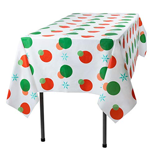 Red and Green Holiday Snow Flake Design 12 Pack Premium Disposable Plastic Tablecloth 54 Inch. x 108 Inch. Rectangle Table Cover By Grandipity for $<!--$24.99-->