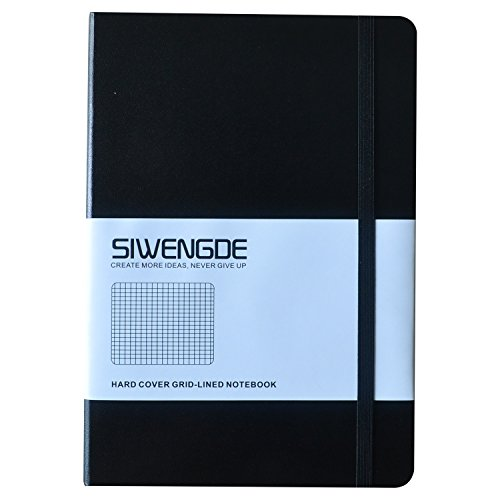 Writing Paper Chart - Siwengde Grid Journal Checked Squared Notebook Ink-Proof Thick Paper 100GSM 160 Graph Pages Large (A5,145mmx210mm) 5.7