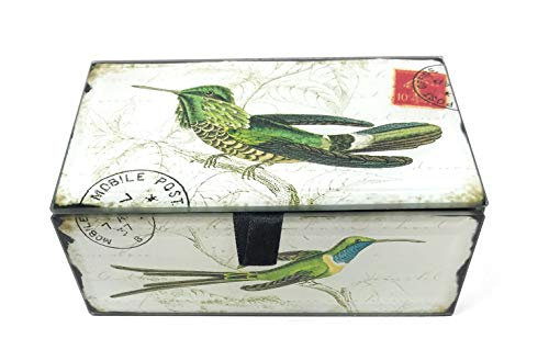 Lined Green Glass - Value Arts Green Hummingbirds Glass Keepsake Box, Beveled Edges, Velvet Lined, 5.25 Inches Wide