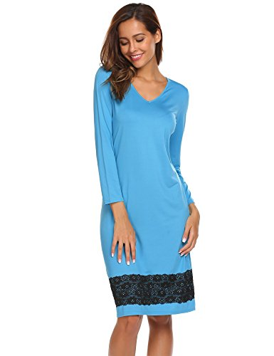 Mujer de Encaje Elástico Pijama ADOME Casa Cielo Ropa Suave Azul Dormir Larga de Manga Camisón ZFdqB
