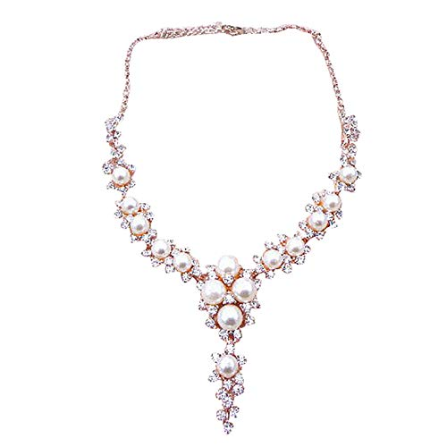 Gorgeous Brilliant Diamond Pearl Necklace,Shiny Crystal Charms Pendant Clavicular Choker for Wedding ()