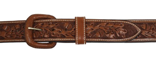 - Vogt Silversmiths Western Leather Belt - Hand Tooled Acorn and Oak Leaf Detail 1.5 inches Wide, Russet, Size 40