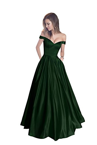 Harsuccting Off The Shoulder Beaded Satin Evening Prom Dress with Pocket Corset Without Belt Emerald 10