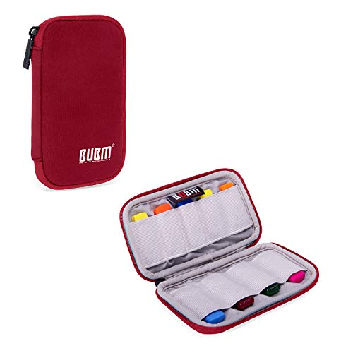 BUBM Mini USB Flash Drive Sticks Carrying Case with Soft Padded Cover, Easy to Carry, 9-Capacity, Dark Red