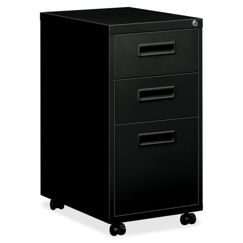 (HON 1600 Series Mobile Box/Box/File Pedestal - 15quot; x 22quot; x 28quot; - 3 x Box, File Drawer(s) - Security Lock, Locking Casters - Black)