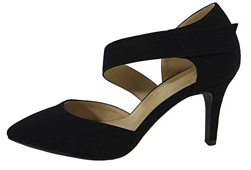 - Cambridge Select Women's Closed Pointed Toe Crossover Strap Stiletto Mid Heel Pump (7.5 B(M) US, Black NBPU)