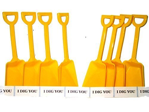 24 Small Toy Plastic Shovels Yellow, Made in America, 7 Inches Tall, 24 I Dig You Stickers