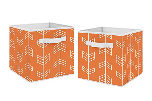Orange Arrow Foldable Fabric Storage Cube Bins Boxes Organizer Toys Kids Baby Childrens for Collection by Sweet Jojo Designs - Set of 2 (Stores Outdoor Denver Furniture)