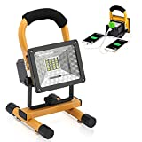 Vaincre Outdoor Camping Lights 15W 24 LED Spotlights Work Lights with Magnet Base - Built-in Rechargeable Lithium Batteries with Dual USB Port to Charge Mobile Devices (Yellow)