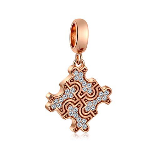 - Sambaah Rose Gold Autism Awareness Charm Sterling Silver Puzzle Piece Charm fit Pandora Style Bracelets