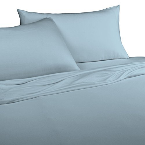 - Brielle 100-Percent Modal from Beech Jersey Knitted Sheet Set, Twin, Light Blue