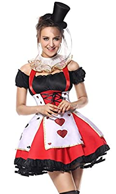 Kimring Women's Queen of Hearts Role Play Halloween Costume with Petticoat