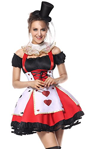 Lusiya Women's Queen of Hearts Halloween Party Dress Set Black-red (Cheap Queen Of Hearts Costumes)