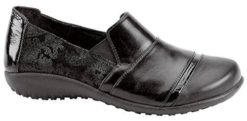 NAOT Women's Miro Flat, Black Lace Leather/Black Leather/Black Patent Leather, 41 EU/9.5-10 M US