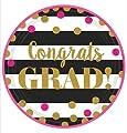 Graduation Day Deluxe Party Supplies Kit (140 Pieces) - Congrats Grad Pink Gold Black Premium Paper Set - Dinner Plates, Dessert Plates, Napkins, Forks, Streamers & Recipe (Serves 18)
