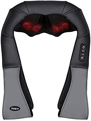 [Limited Promotion] Naipo Neck and Shoulder Massager Shiatsu Back Massagers Massage Machine with Optional Heat, Intensity Adjustable and 3D Deep Tissue Kneading Relax Muscle, Office Car Home Use