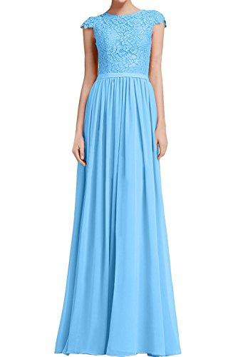 2746b2368889 La mia Braut Elegant Dunkel Blau Lang Abendkleider Ballkleider  Abschlussballkleider Jugendweihe Kleider Mit Spitze Kurzarm Hell Blau