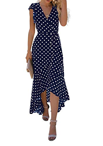 GRECERELLE Women's Summer Floral Print Cross V Neck Dress Bohemian Flowy Long Maxi Dresses PD-Navy Blue-M