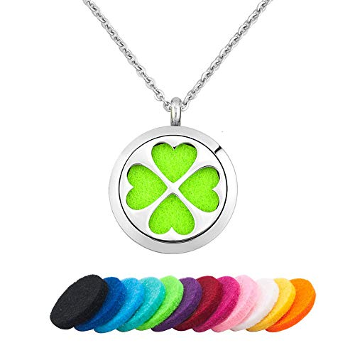 - CLY Jewelry Love Nature Four Leaves Clover Aromatherapy Essential Oil Diffuser Necklace Pendant 12 Pads