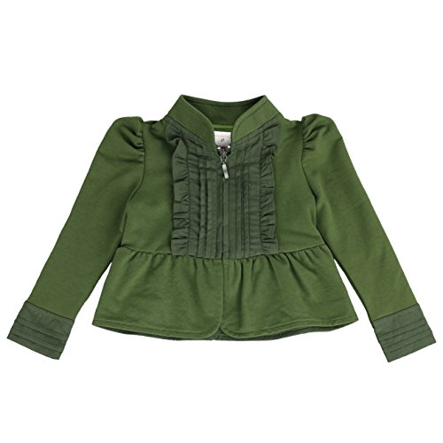 - LELEFORKIDS- Toddlers Girls French Terry Knitt | Kiss Joy Zip-Up Jacket in Olive Green 7/8