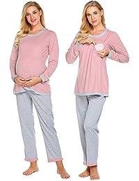Women's Maternity Nursing Pajama Set, Breastfeeding PJ...