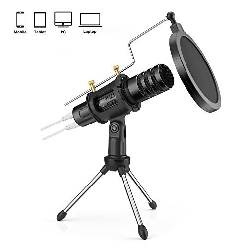FerBuee Professional Condenser Microphone for iPhone Android Phone Recording Echo Karaoke Singing Built-in Sound Card MIC Computer PC Microphones with MIC Stand (M20-Black)