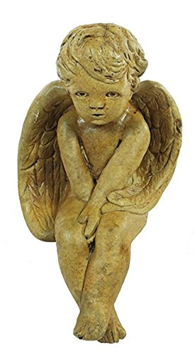 Solid Rock Stoneworks Sitting Angel Stone Statue 16in Tall Autumn Wheat Color - Sitting Angel Garden Statue
