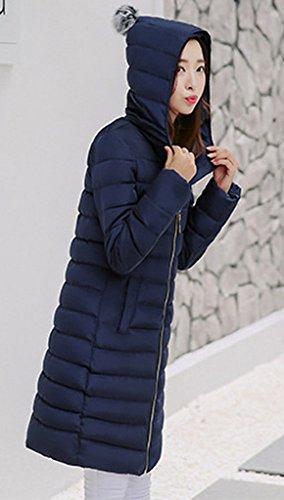 Manteau Bigood Slim Longue Femme Bleu Doudoune Hiver Capot Rembourré Parka Chaud Blouson Avec Fxgpw