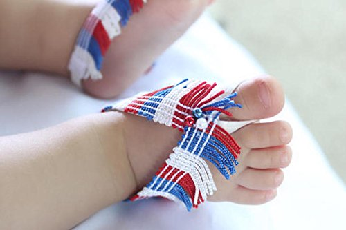 Amazon.com  Handmade Fringe 4th of July Baby Barefoot Sandals by ...