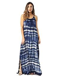 Riviera - Vestido Maxi con Correa de Espaguetis, Azul Marino/Blanco, S
