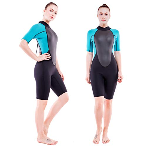Realon 3mm Shorty Wetsuit Womens CR Neoprene Surfing Scuba Diving Snorkeling Swimming Suit (3mm Shorty Dark/Blue, X-Large)
