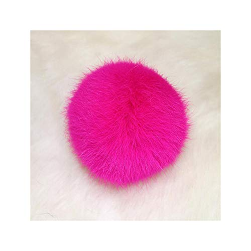 8cm Natural Rabbit Fur Ball Keychain Pompom Fluffy Key Chain Key Ring Cute Pom Pom Porte Clef for Women Bag Charm Toys,Rose Red from Meidly