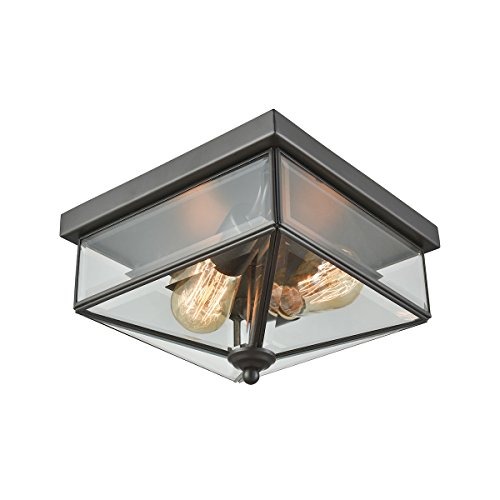 Thomas Lighting Lankford 2 Light Outdoor Flush In Oil Rubbed Bronze With Clear Glass