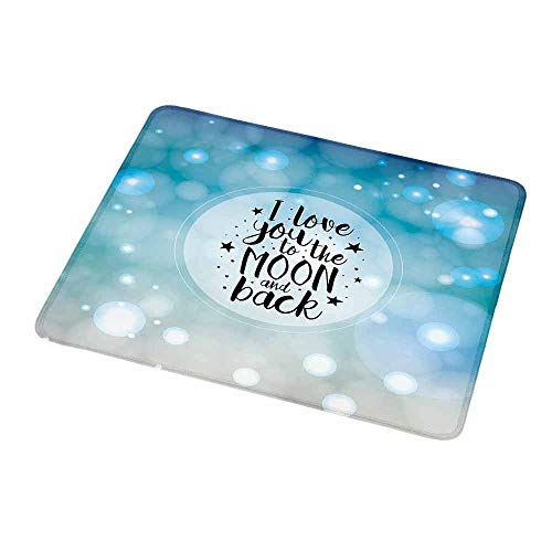 Desktop Mousepad Love,Dreamy Fantasy Background with Valentines Frame Black Stars and Typography,Turquoise Beige Black,Non-Slip Rubber Mousepad 9.8