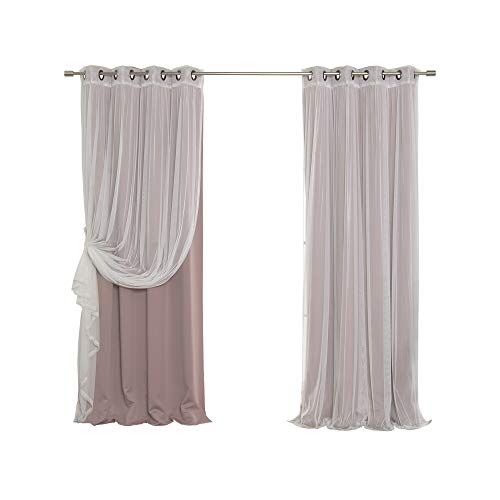 Best Home Fashion Mix and Match Tulle Sheer Lace & Blackout Curtain Set - Antique Bronze Grommet Top - Mauve - 52