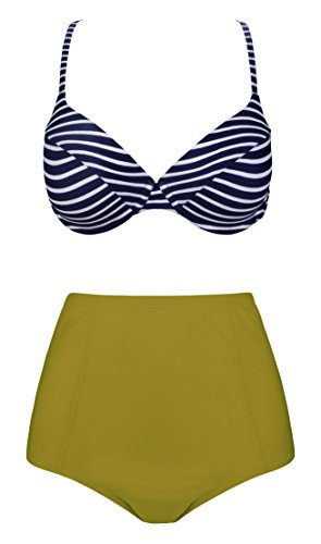 AnniBlue High Waisted Strappy Bikini Swimsuit For Women Two Pieces Cross Bathing Suits Navy (Female 2 Piece Cross)