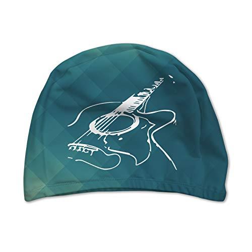 XREE Adult Sport Swim Cap Swimming Cap, Super Resilient, Breathable, Suitable for Long or Short Hair - Acoustic Guitar