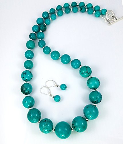 Graduated Turquoise Necklace & Earring Set - Spirit People's Holy Ground - June July December Birthstone