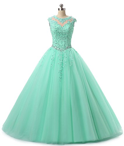 HEIMO Lace Appliques Ball Gown Evening Prom Dress Beading Sequined Quinceanera Dresses Long 2018 H152 2 Mint (Ball Evening Gown Dress)