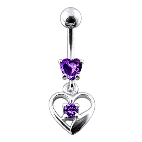Heart Sterling Silver Belly Button Ring (Purple Gem Dangling Heart 925 Sterling Silver Belly-Navel Ring Body jewelry)