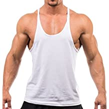 Q.Y.Fashion Men's Cotton Blank Stringer Y Back Workout Gym Tank Tops White M