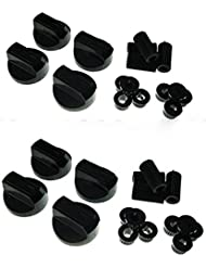 bartyspares Universal Black Control Knobs For Ovens, Cookers And Hobs (Pack Of 8)