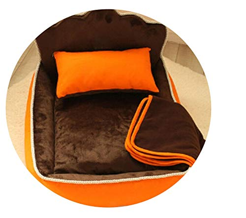 Dog House Nest Sleep Cushion Kennel Mascot Luxury Princess Pet Bed with Pillow Blanket Dog Bed Cat Bed Mat Sofa,Brown,S 53x36x33cm