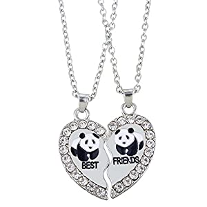HooAMI Best Friends Necklace Engraved Heart Pendant Friendship Jewelry for BFF Lover Set of 2