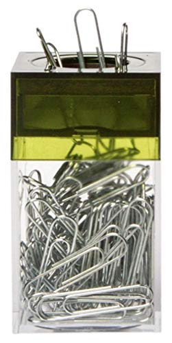 AMAC ClipMaster Magnetic Paper Clip Holder with About 100 Chrome Paper Clips - Crystal Clear Base with Transparent Olive Lid