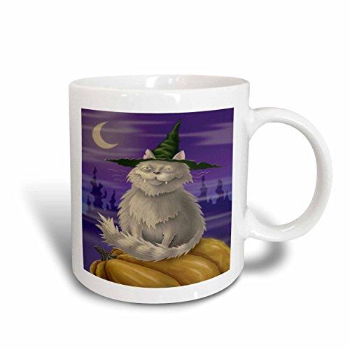 [3dRose mug_159488_1 Creepy & Cute Halloween Kitty Cat Ceramic Mug, 11 oz, White] (Cute Halloween Pictures Of Cats)