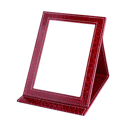DUcare Travel Makeup Mirror with Gift Box, Portable Compact Red Vanity Folding Mirrors